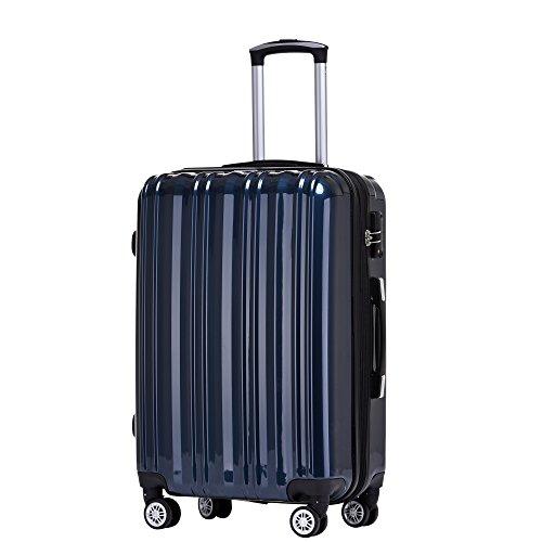 Münicase Münicase- Hartschalen Koffer Reisekoffer Trolley Rollkoffer Polycarbonat TSA-Schloß Kofferset Gepäckset (Dunkelblau, Kleiner Koffer (ca.54cm))