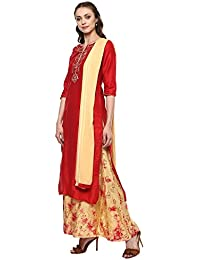 Haute Curry By Shoppers Stop Womens Notched Neck Solid Embroidered Palazzo Suit