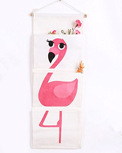 chicieve algodón tela de pared para puerta armario para colgar bolsa de almacenamiento caso organizador bolsillos casa bolsa de almacenamiento para el dormitorio de los niños/puerta Flamingo