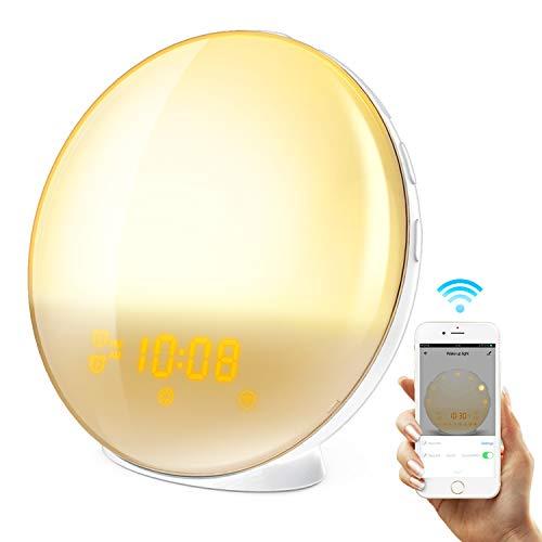 HoMii Wecker Licht Lichtwecker, Alexa und Google Home, intelligentes Licht, 7 farbige Sonnenaufgangssimulation und mit verblassendem Sonnenuntergang, UKW-Radio,USB-Ladeanschluss