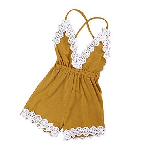 Bekleidung Longra Säugling Neugeborenes solide ärmellose Sommer Baumwolle Strampler Bodysuit Playsuit Kleidung Overall Babykleidung (0-24 Monate) (110CM 24Monate, Brown) (Brown-streifen-hose)