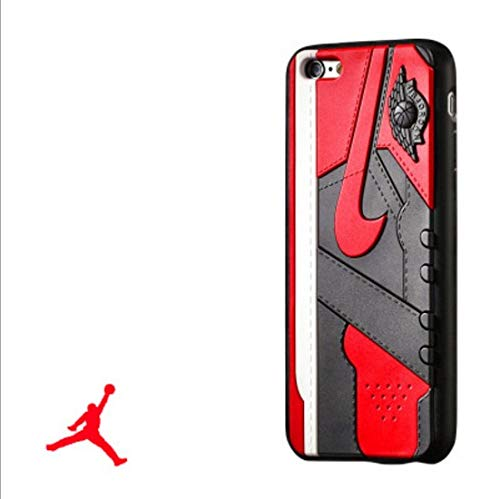 KBDS New Air Jordan Soft Silicon Sole Case for Apple iPhone 6/6S Black& Red