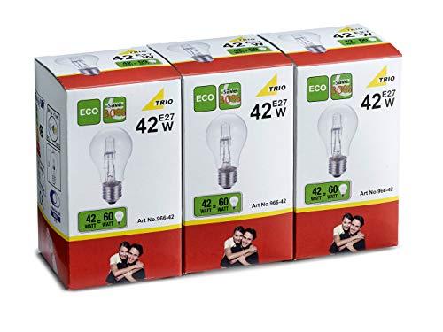 TRIO lot de 3 ampoules éco-halogène e27 42 w 560 lm, 2700 k 966–42