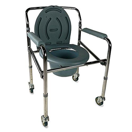 Silla con WC/inodoro | De acero cromado, plegable, con tapa, ruedas y reposabrazos acolchados | Mod. Muelle | Mobiclinic