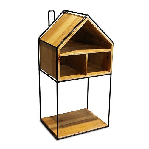 Simple fer en bois supports muraux créative treillis salon solide bois décoratif mur-étagère salle type (Style : A)