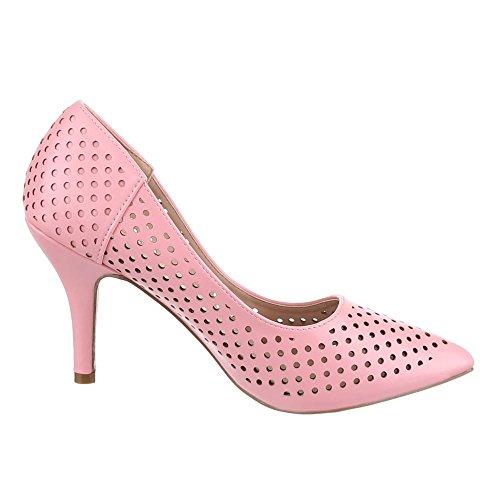 Ital-Design High Heel Damen Schuhe Geschlossen Pfennig-/Stilettoabsatz Luftig Perforierte Pumps Rosa