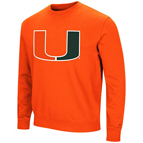 Colosseum NCAA Herren Playbook Fleece-Sweatshirt, Rundhalsausschnitt, Tackle Twill-Stickerei, Teamfarben, Herren, Miami Hurricanes-Orange, Large
