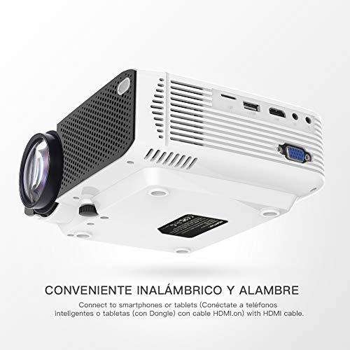 41UyAozOXkL - Proyector APEMAN Mini Portátil Proyector de Cine en Casa 3800 Lúmenes Altavoces Duales Incorporados 50000 Horas Soporte HD 1080P HDMI/USB/VGA/AV/Micro SD (Incluye HDMI/AV/Cable de Alimentación)