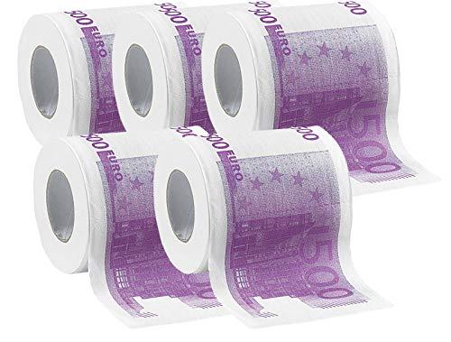 infactory Motiv-Klopapier: Toilettenpapier mit aufgedruckten 500-Euro-Noten, 2-lagig, 1.000 Blatt (Spaßpapier für Gäste-WC)
