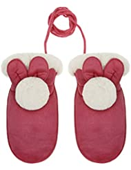 Girls Winter Gloves on a String Children Full Finger Thick Mitten Cute Rabbit Pattern Hang Neck Glove Soft Warm Suede Hand Wear Skiing Outdoor Mittens for Kids with Pom Pom Lovely Ears