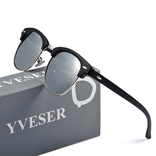 Yveser Occhiali da Sole Aviator UV400 Polarizzati per Uomo e Donna Yv3025 (Lente Verde/Telaio Argento) xgEli