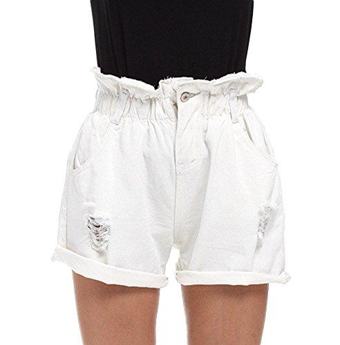 Minetom Donne Jeans Shorts Estate Hot Pants Pantaloncini Denim Donna Vita Alta Moda Classici Crimpaggio Hem Pantaloni A Vita Elastica (EU XS, Bianca)