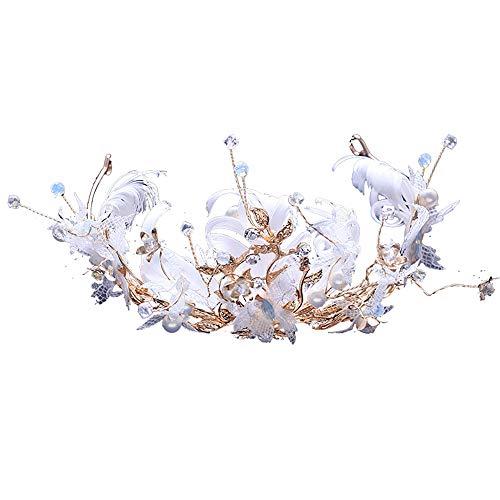 roroz Krone der Frauenbraut,Braut-Hochzeits-Kleid-Kronen-weiße Feder-Kopfschmuck-Goldhaarzusatz-Braut-Brautjungfern-Styling-Fotografie,White