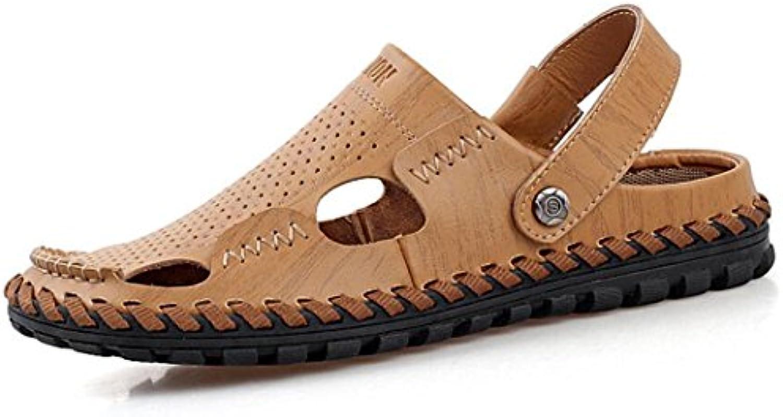 GAOLIXIA Sandalias hechas a mano para hombre Zapatillas respirables de cuero de verano Zapatos ocasionales huecos