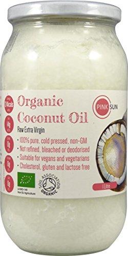 PINK SUN Aceite de Coco Organico 1 litro Virgen Extra y Sin Refinar Crudos y Prensado en Frío En Jarra de Vidrio - Raw Organic Extra Virgin Coconut Oil 1000ml