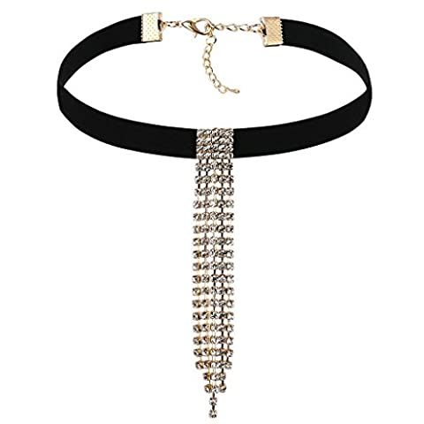 Epinki Women Choker Velvet Collar Tassel Waterfall Tattoo Necklace Black