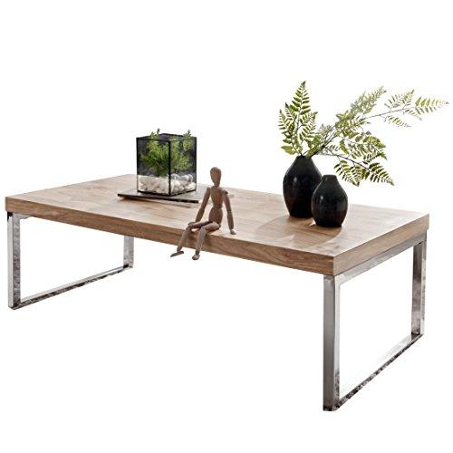 WOHNLING Couchtisch Massiv-Holz Akazie 120 cm breit Wohnzimmer-Tisch Design dunkel-braun Landhaus-Stil Beistelltisch Natur-Produkt Wohnzimmermöbel Unikat modern Massivholzmöbel Echtholz rechteckig -