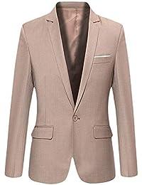 HX fashion Giacca da Uomo Slim Fit Blazer Giacca A Un Taglie Comode Bottone  Elegante Abito 1e063a15fd4