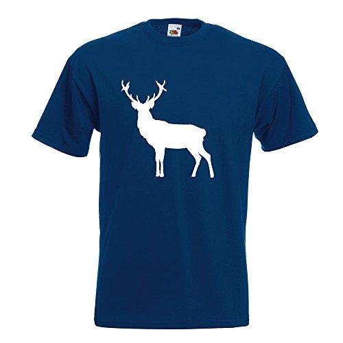KIWISTAR - Hirsch Rentier Reh 2 T-Shirt in 15 verschiedenen Farben - Herren Funshirt bedruckt Design Sprüche Spruch Motive Oberteil Baumwolle Print Größe S M L XL XXL Navy