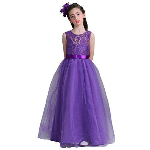 Linnuo bambini compleanno regali ragazze pizzo damigella d'onore abito da ballo vestito in tulle per cerimonia carnevale (viola, 160 cm)