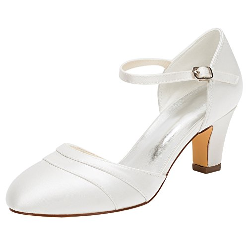 Emily Bridal Brautschuhe Frauen Seide Wie Satin Stiletto Heel Closed Toe Pumps (EU40, Elfenbein) (Satin Top Stiletto Heel)