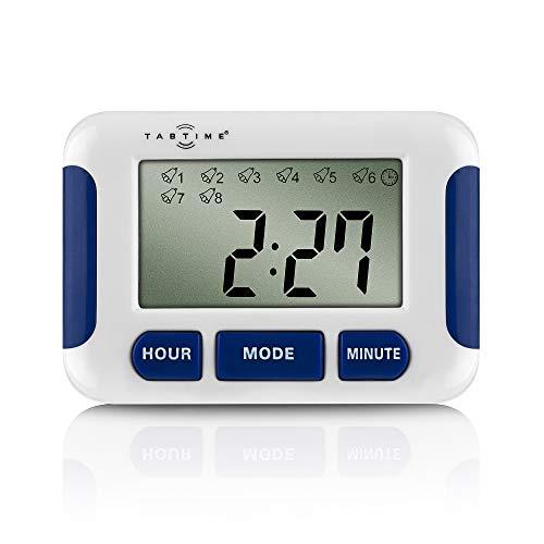 TabTime Timer (TabTimer), Pillenerinnerung, Medikamenten-Uhr/ Wecker mit 8 Alarmen pro Tag, essentiell für Parkinson-Patienten (Uhr Pille Timer Alarm)