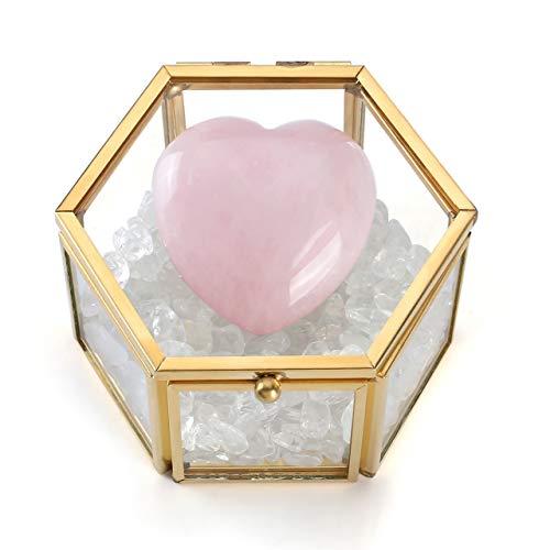 chatullen Geometrisches Sukkulente Pflanze Box Schmuckbox+Herz Stein Bergkristall Trommelsteine Tischdeko ()