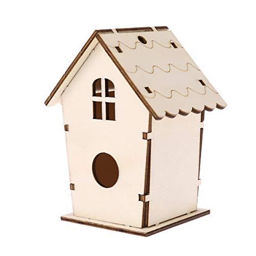 Shinan scatola per gabbia per uccelli da giardino in legno naturale con nido d'uccello naturale