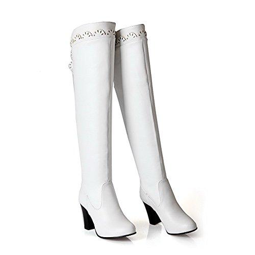 VogueZone009 Damen Hoch-Spitze Rein Reißverschluss Hoher Absatz Stiefel mit Metallisch Weiß