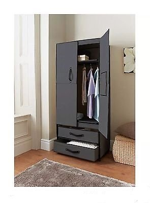 Space Saving Deluxe Double Canvas Wardrobe Black Easy Self Assembly produced by geothic - quick delivery from UK.