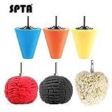 SPTA 6pcs Lucidatura Auto Set,3Pcs Spugna Cono Lucidatura +3pcs Sfera di Lucidatura per Ruote di Automobili Automobilistiche Cura, per Metallo Alluminio, Acciaio Inossidabile, Plastica, Ceramica