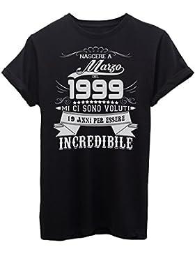 iMage Shirt Compleanno Nato A Marzo del 1999-19 Anni per Essere Incredibile - Eventi - Maglietta