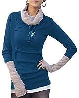 Japan Style von Mississhop Damen 2 in 1 Optik Strick Pullover Longshirt Sweatshirt Strickjacke