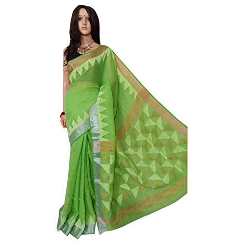 ETHNIC EMPORIUM Indisches ethnisches Leinen Jamdani Saree Sari Green Colored Fancy Damenkleid 100a -