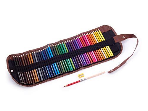 Matite colorate in un astuccio arrotolabile per bambini e adulti, 48 matite, ideali per disegnare e colorare, non tossiche, nucleo morbido da 3,5 mm, custodia arrotolabile, temperamatite, prolunga