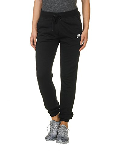 Nike Damen REG Fleece Trainingshose, Black/White, L
