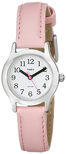 Timex Kids T79081 Quartz Watch with White Dial Analogue Display and Pink Leather Strap