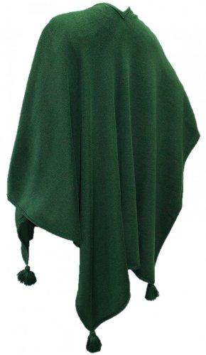 Hans Moser Poncho Cape Umhang Stola groß Wetterfleck grün dunkelgrün Merino-Wollmischung Schultertuch...