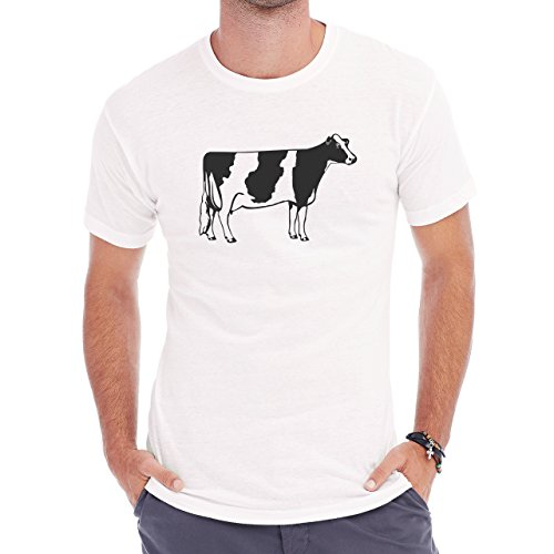 Bull Cow Animals Farm Standing Cartoon Herren T-Shirt Weiß