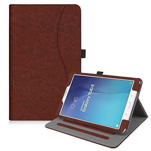 Fintie Hülle für Samsung Galaxy Tab E T560N / T561N (9,6 Zoll) Tablet-PC - Multi-Winkel Betrachtung Kunstleder Schutzhülle Etui mit Dokumentschlitze und Auto Schlaf/Wach Funktion, Braun