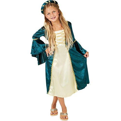 kostüm Burgprinzessin | Wundervolles, langes Kleid | Mit goldfarbenen Zierborten versehen | Inkl. Haarband (11-12 Jahre) (Elf Kostüm Für Mädchen)