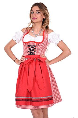 Dirndl Trachtenkleid 476GT Rot Weiß kariert Oktoberfest Gr 34 36 38 40 42 38