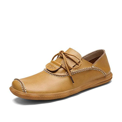 HUAN Hommes Casual Chaussures en Cuir en Plein Air Exercice Sneakers Lacets Plat Mocassins Chaussures yellow