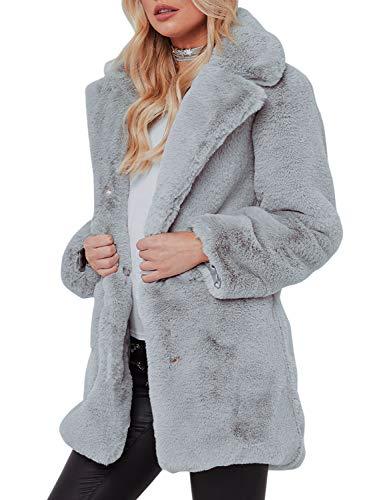 Terryfy Damen Pelz Mantel Elegant Lang Warm Fellmantel Winter Fur Coat Jacke Grau