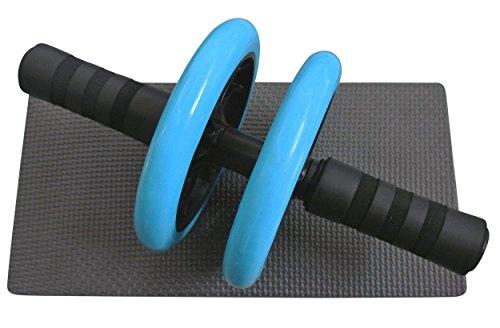 AB Roller, Bauchtrainer mit Knieauflage und Bonus-Anleitung, Bauchmuskeltraining für Männer und Frauen - Bauchroller mit dicker Kniematte - Fitness, BLAU