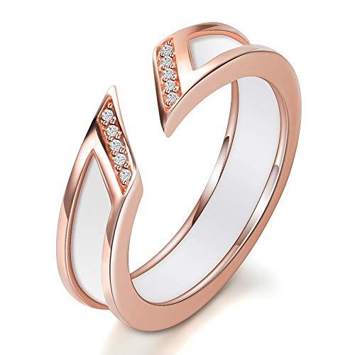 Jewelry CCF Ring Keramik diamantbesetzt Öffnung Junge Schwanzring Rose Gold Dame Nummer 7 Weiß