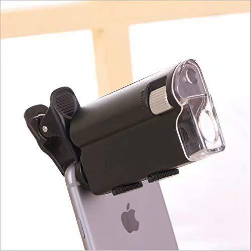 Waymeduo Mini Mikroskop 60x-100x LED Taschenmikroskop Juwelier Vergroesserungsglas Einstellbare Lupe