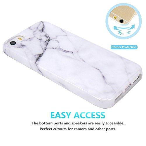 Coque iPhone 5 5S SE, JIAXIUFEN Silicone TPU Étui Housse Souple Antichoc Protecteur Cover Case - Shiny Rose Gold Gray Marbre Désign Blanc