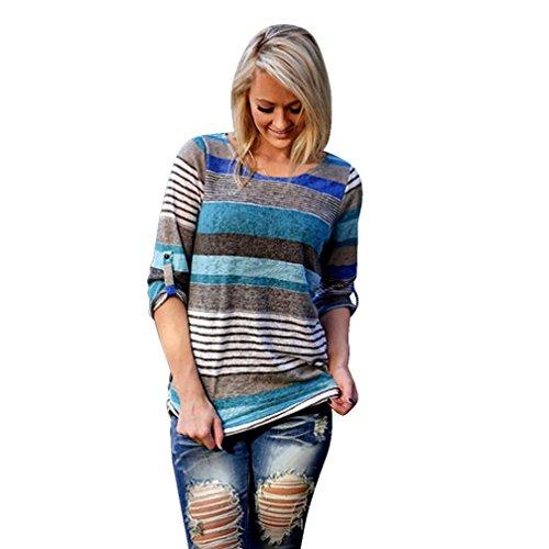 Ularma Damen Streifen Langarm T-Shirt Rund-Ausschnitt Casual Oberteile Blau