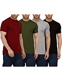1f7c84bc ADBUCKS Half Sleeve 100% Cotton & Lycra Material Full Stretch Casual Round  Neck T-Shirts for Men (Plus Size Also…